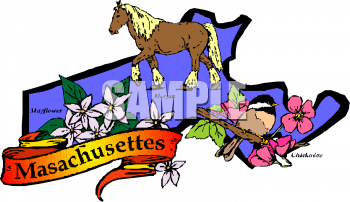 Clip Art Picture of the State of Massachusetts Symbols.