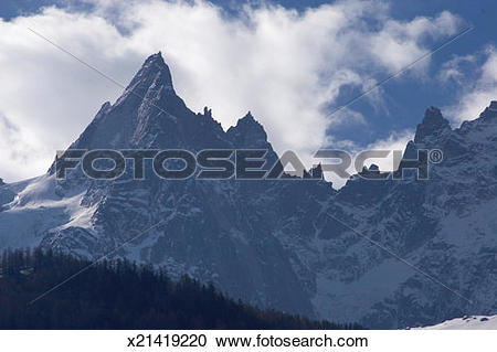 Stock Photography of French Alps, sharp edged jagged ridges and.