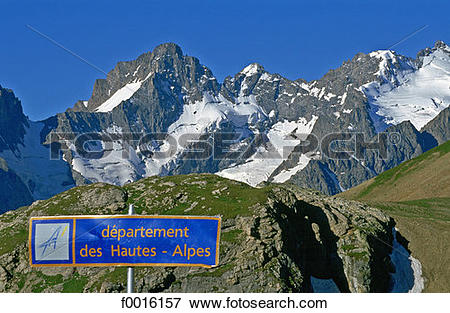 Picture of France, Alps, Galibier mountain and La Meije massif.