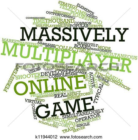 Clip Art of Word cloud for Massively multiplayer online game.