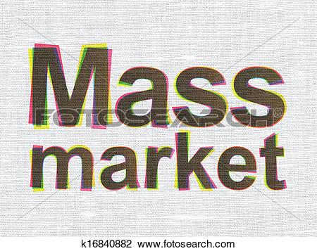 Clip Art of Marketing concept: Mass Market on fabric texture.