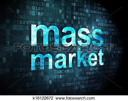 Clip Art of Advertising concept: Mass Market on digital background.