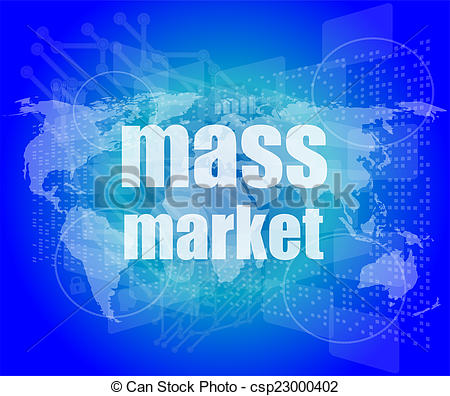 Stock Photography of mass market words on digital touch screen.