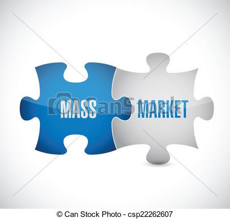 Vector Clipart of mass market puzzle pieces illustration design.