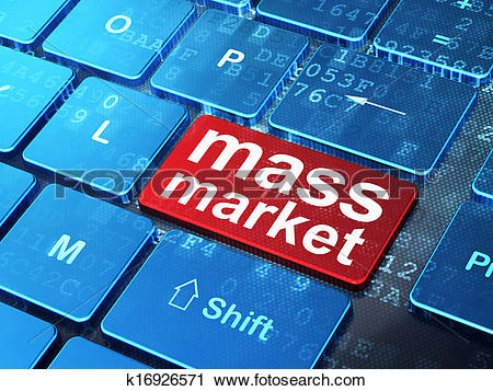 Clipart of Marketing concept: Mass Market on computer keyboard.