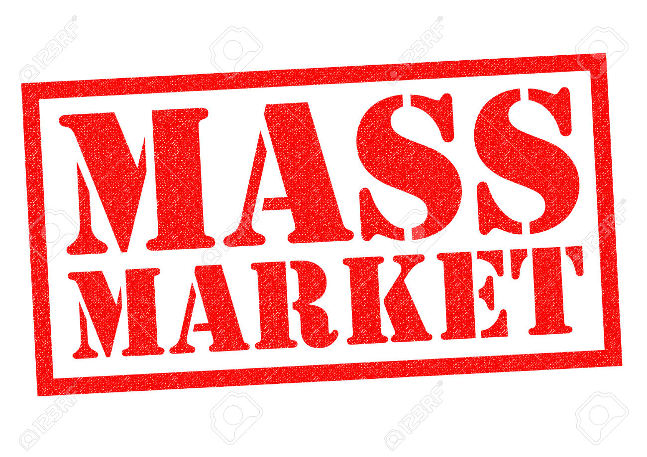 MASS MARKET Red Rubber Stamp Over A White Background. Stock Photo.