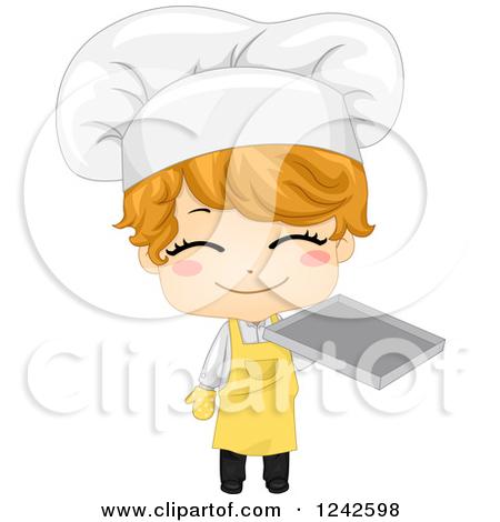 Clipart Happy Baker Holding Up Bread Logo.