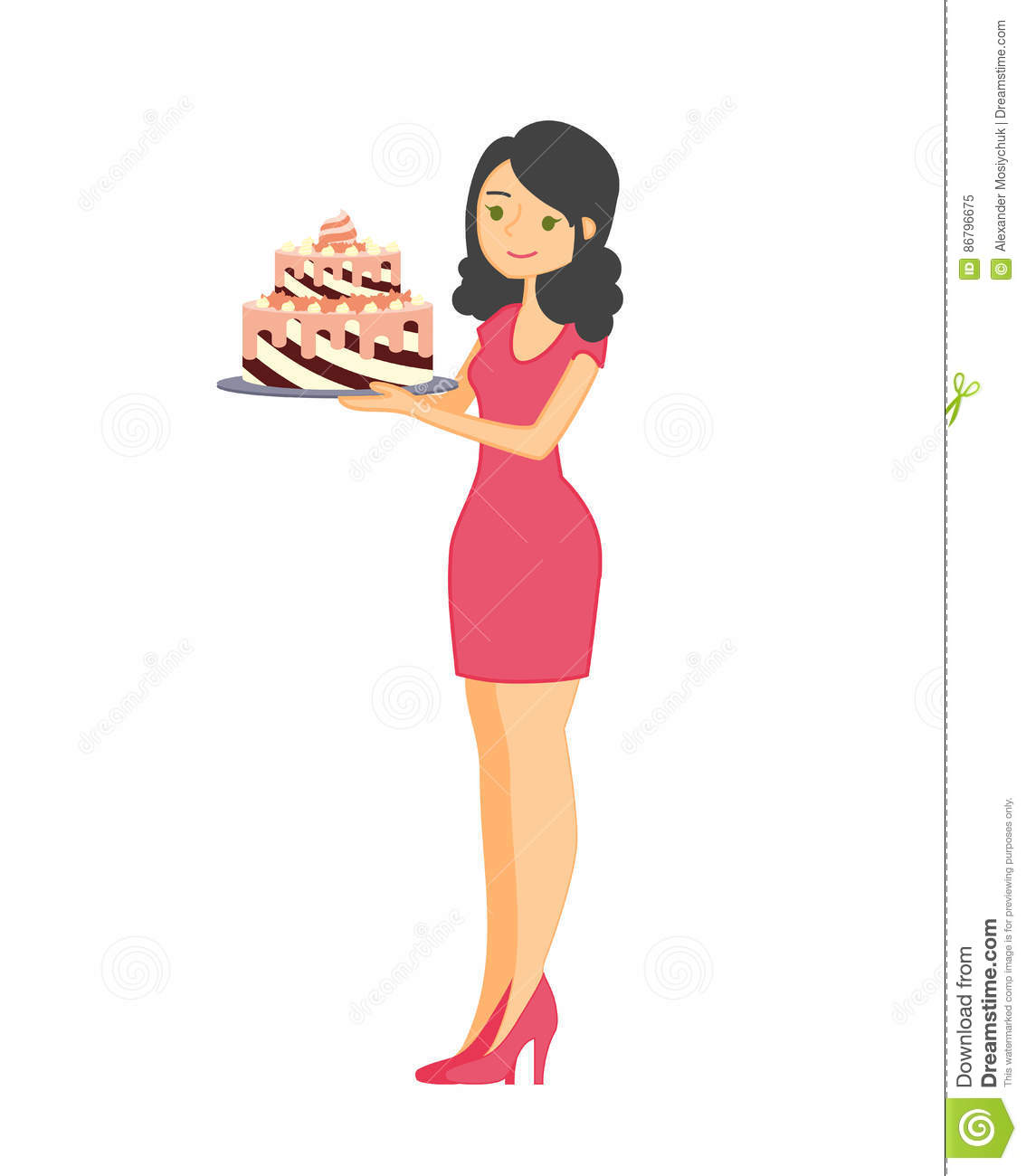 Female Characters With A Cake. Beautiful Housewife, Woman Master.