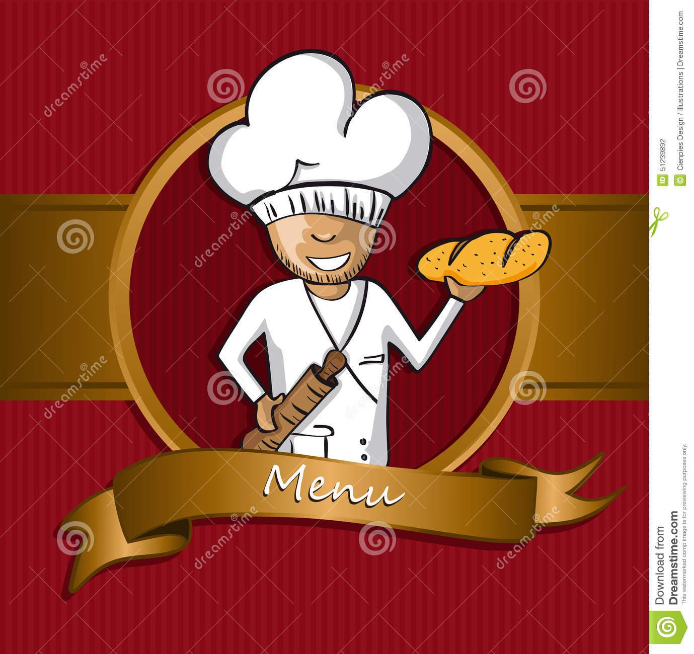 Baker Chef Cartoon Badge Menu Design Stock Vector.