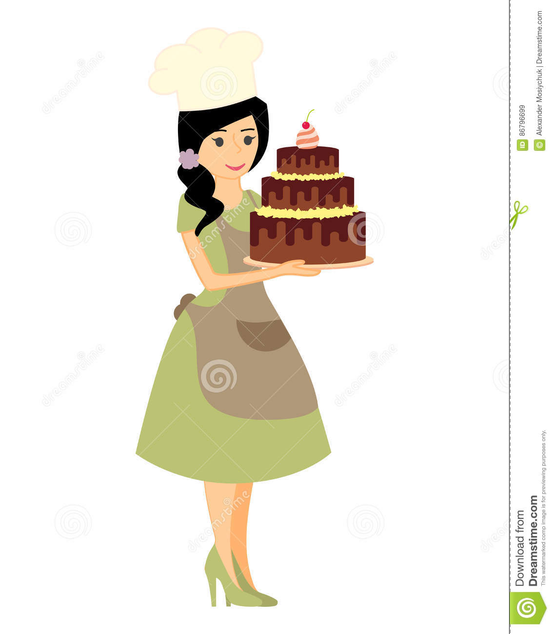 Female Character With A Cake. Beautiful Housewife In Green Dress.