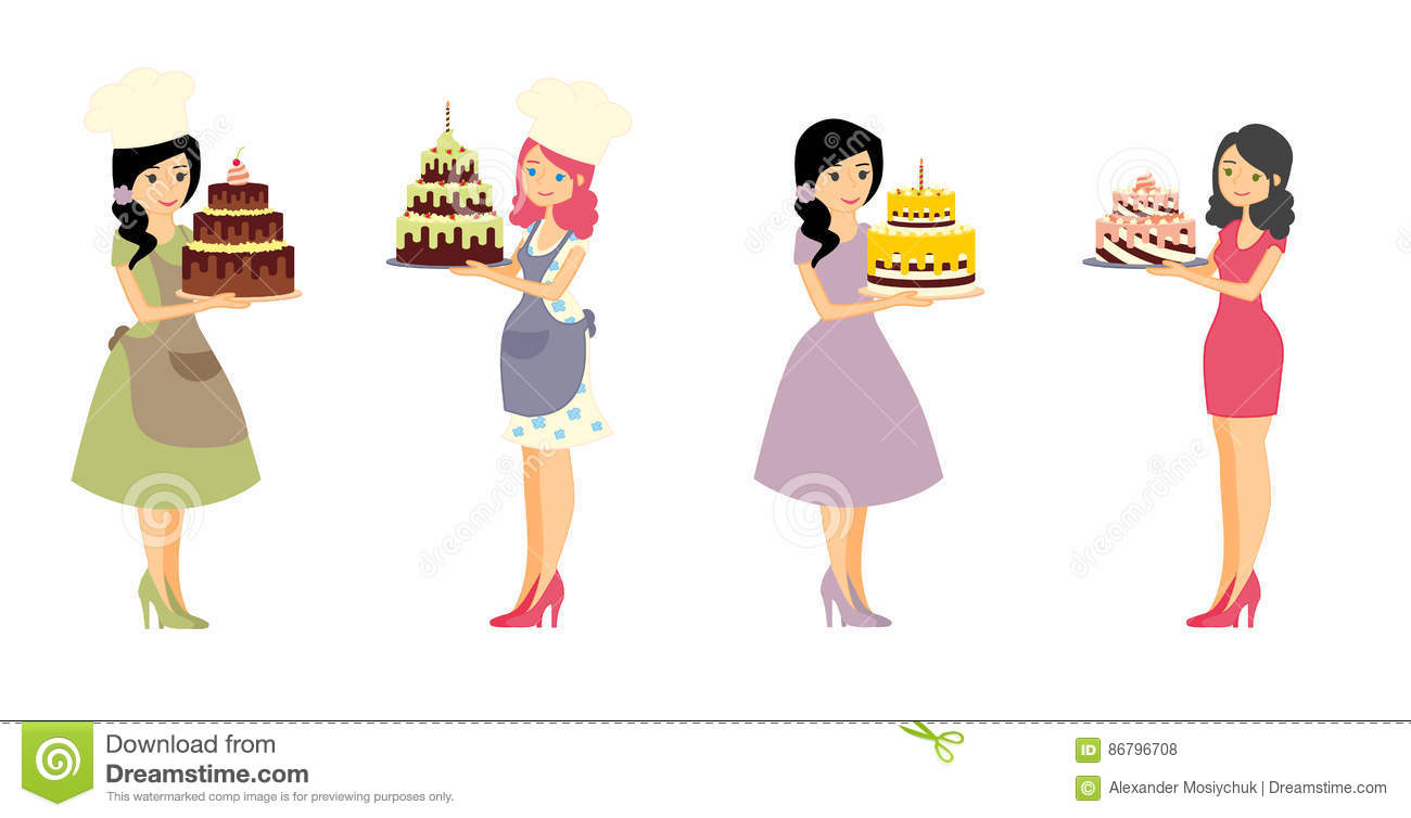 Set Of Female Characters With A Cake. Beautiful Housewife, Woman.