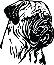 Bull Mastiff Head Dog Clip Art For Custom Pet Lovers Gifts.