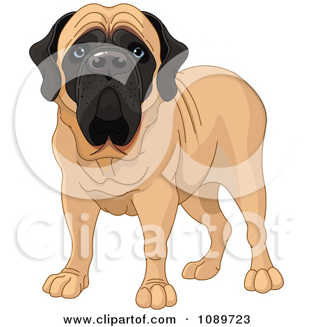 Clipart 3d Brindle Mastiff Dog In A Protective Stance.
