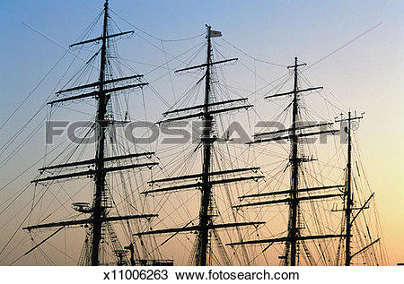 Stock Photo of Masts and rigging on large sailing ship, low angle.
