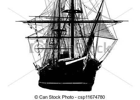 Stock Illustration of Tall ship silhouette.