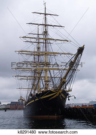 Stock Photography of Old Style Vintage Three Masts Clipper Ship.