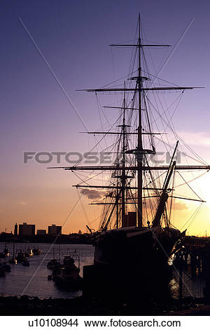 Stock Photo of HMS Victory Portsmouth England UK masts rigging.