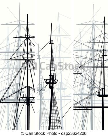 Vector Clipart of Ship's masts and sailyards..