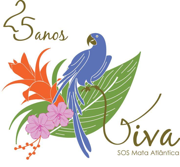 Estampa silk screen 'Viva' para concurso SOS Mata Atlântica, por.