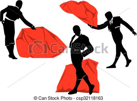 Clip Art Vector of Matador pose set.