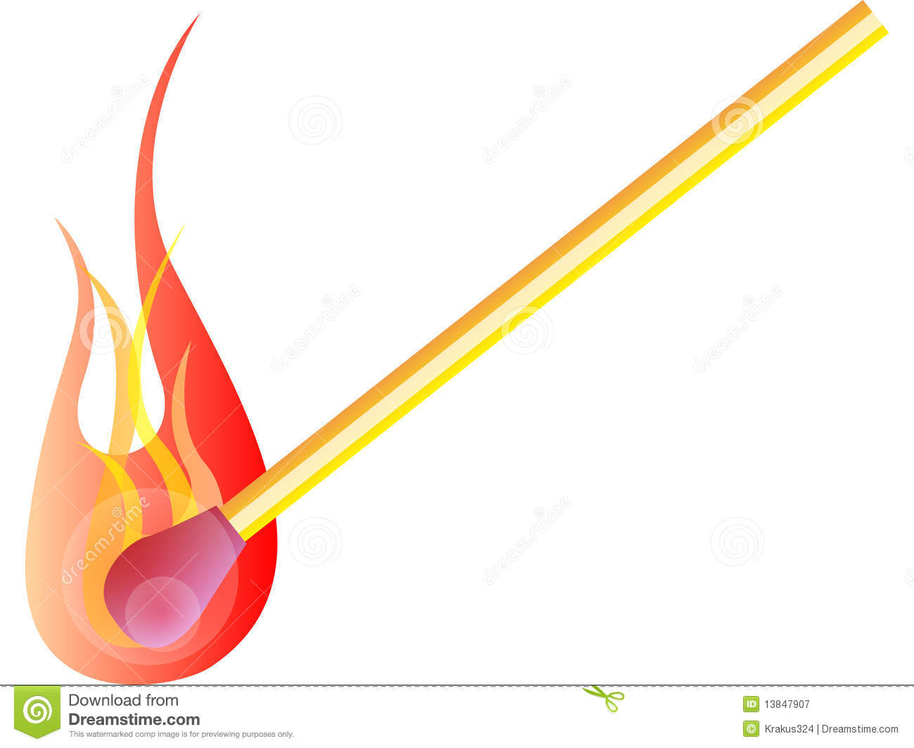 Curved Flame Match Light Stock Illustrations.