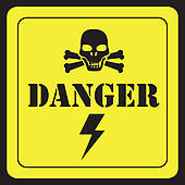 Clip Art of Symbolic nuclear power plant with skull and match cord.