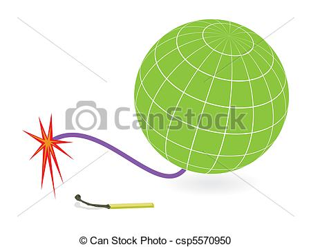 Vector Clipart of Earth globe and firing cord.