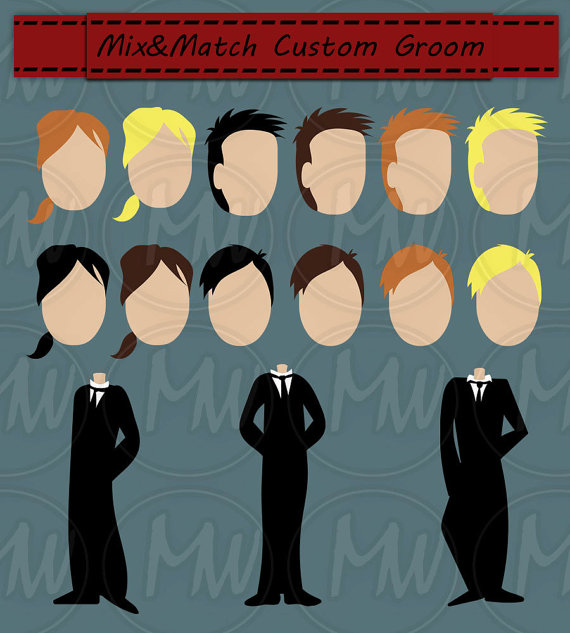 Wedding Clipart Color Bride Groom Clip Art Mix & by BlueKittyCute.