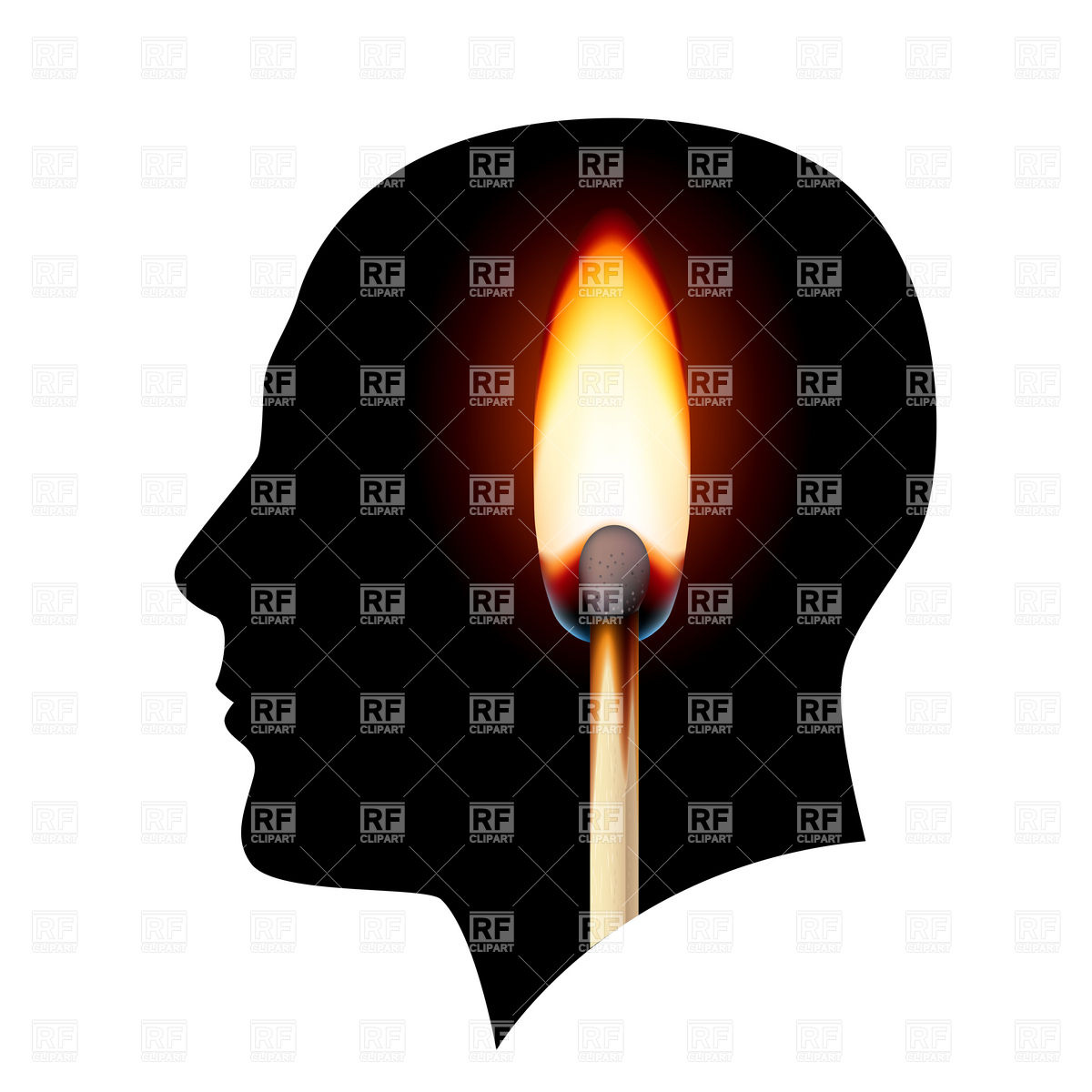 Burning match in the head Vector Image #6413.
