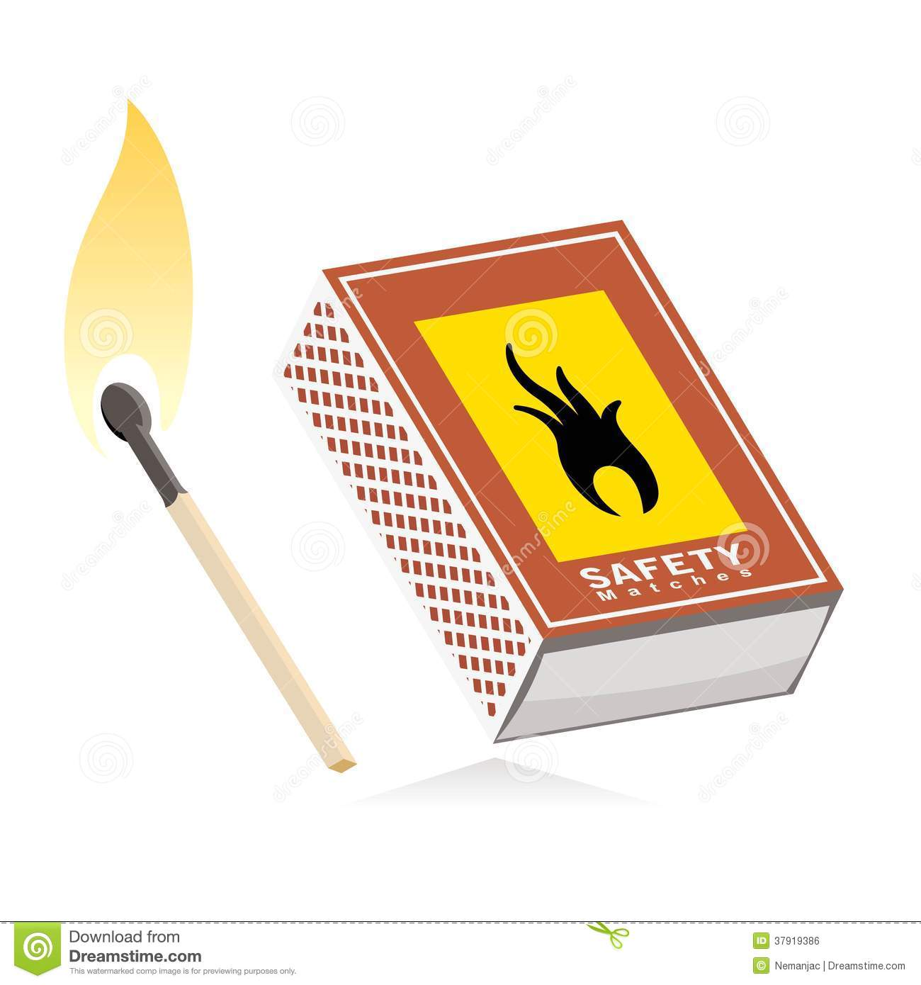 Matchbox And Lit Match Royalty Free Stock Image.