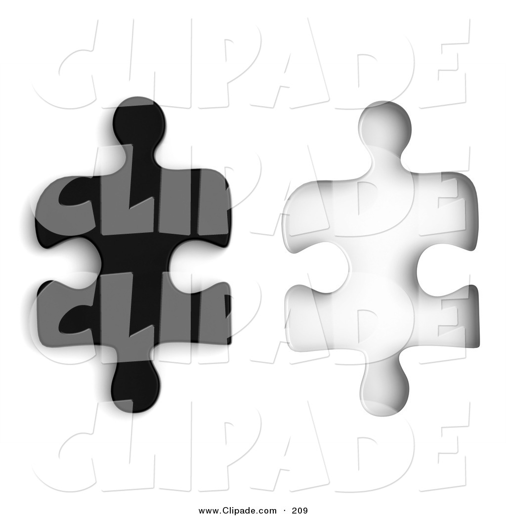 Clip Art of a Black 3d Jigsaw Puzzle Piece Beside a Matching Space.