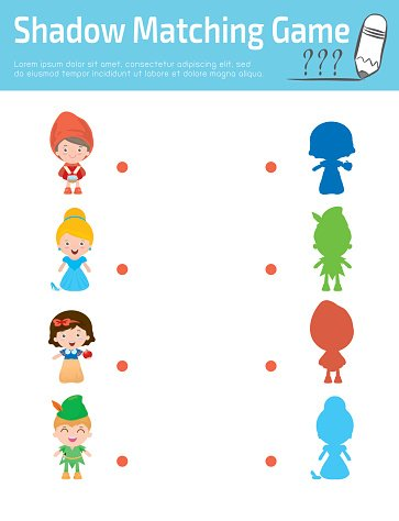 Shadow Matching Game for kids, Visual game for kid Clipart.