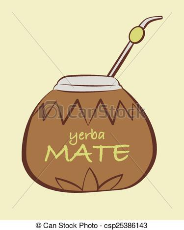 EPS Vector of Vector illustration of yerba Mate, Calabash with.