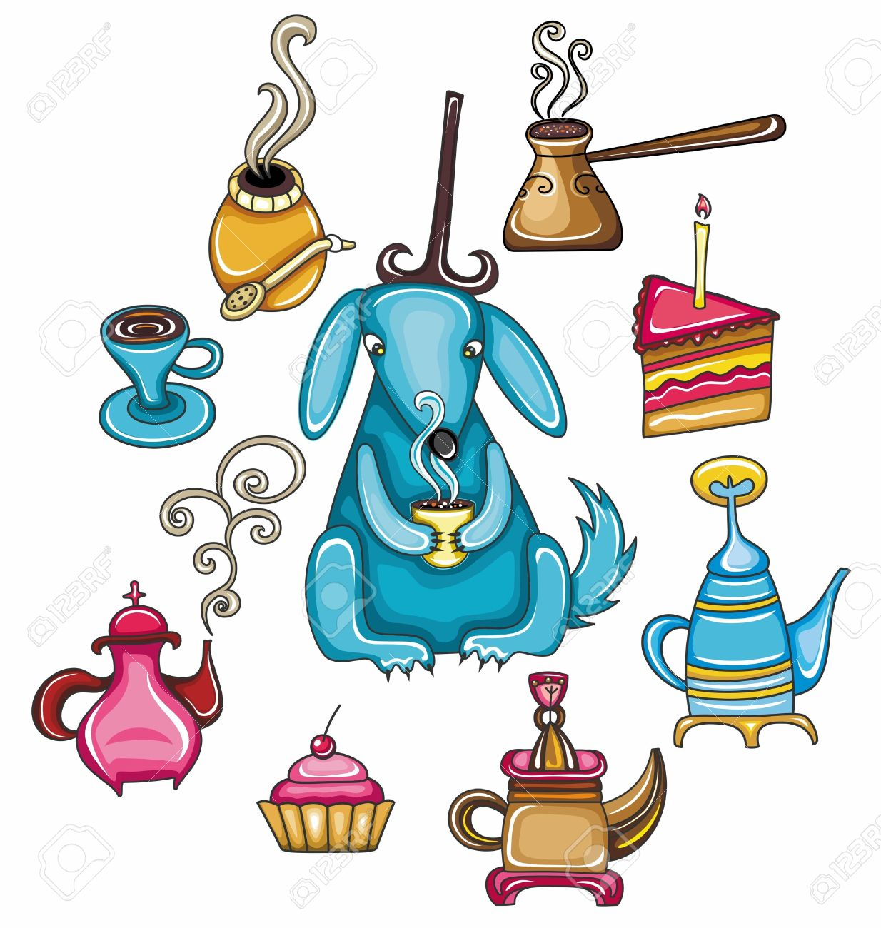 Funny, Coffee, Mate, Tea, Set With Cute Dog Royalty Free Cliparts.