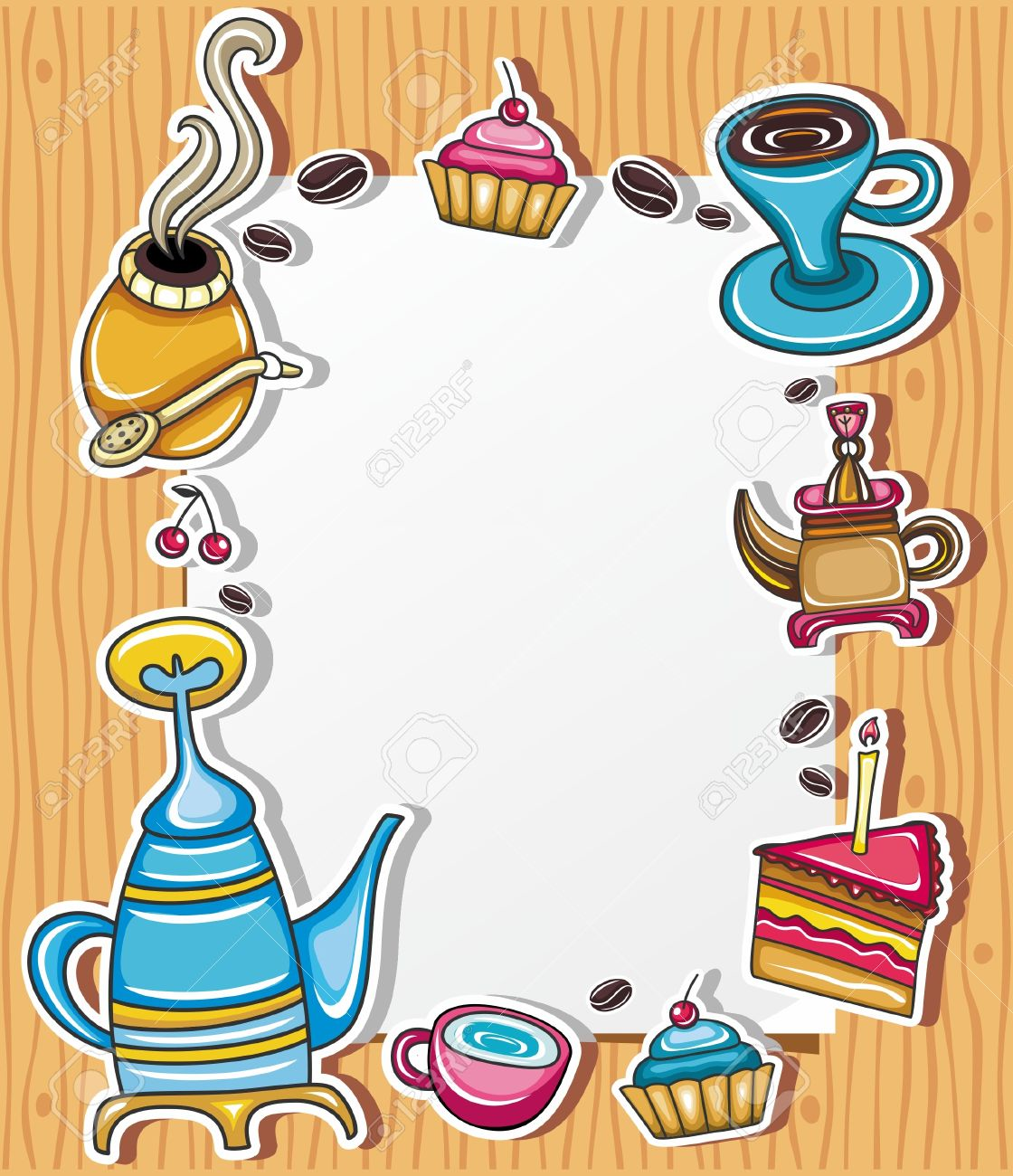 Cute Grunge Frame With Coffee, Tea, Cake, Yerba Mate Symbol.