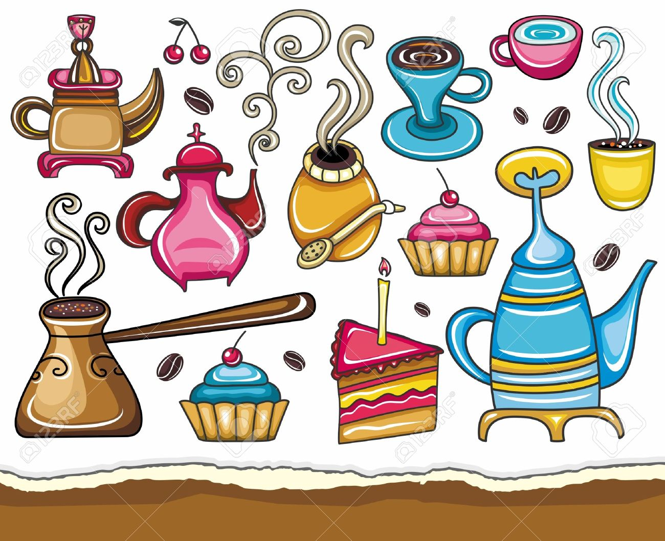 Funny Coffee, Mate, Tea, Set Royalty Free Cliparts, Vectors, And.