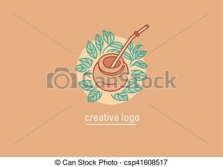 Vector Clip Art of Tea traditions. Tea leaves and tea mate.