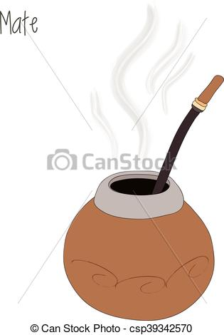 Vectors Illustration of Mate tea, calabash, vector illustration.
