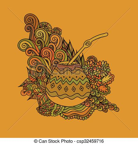 Vector Clip Art of Yerba mate tea gourd.