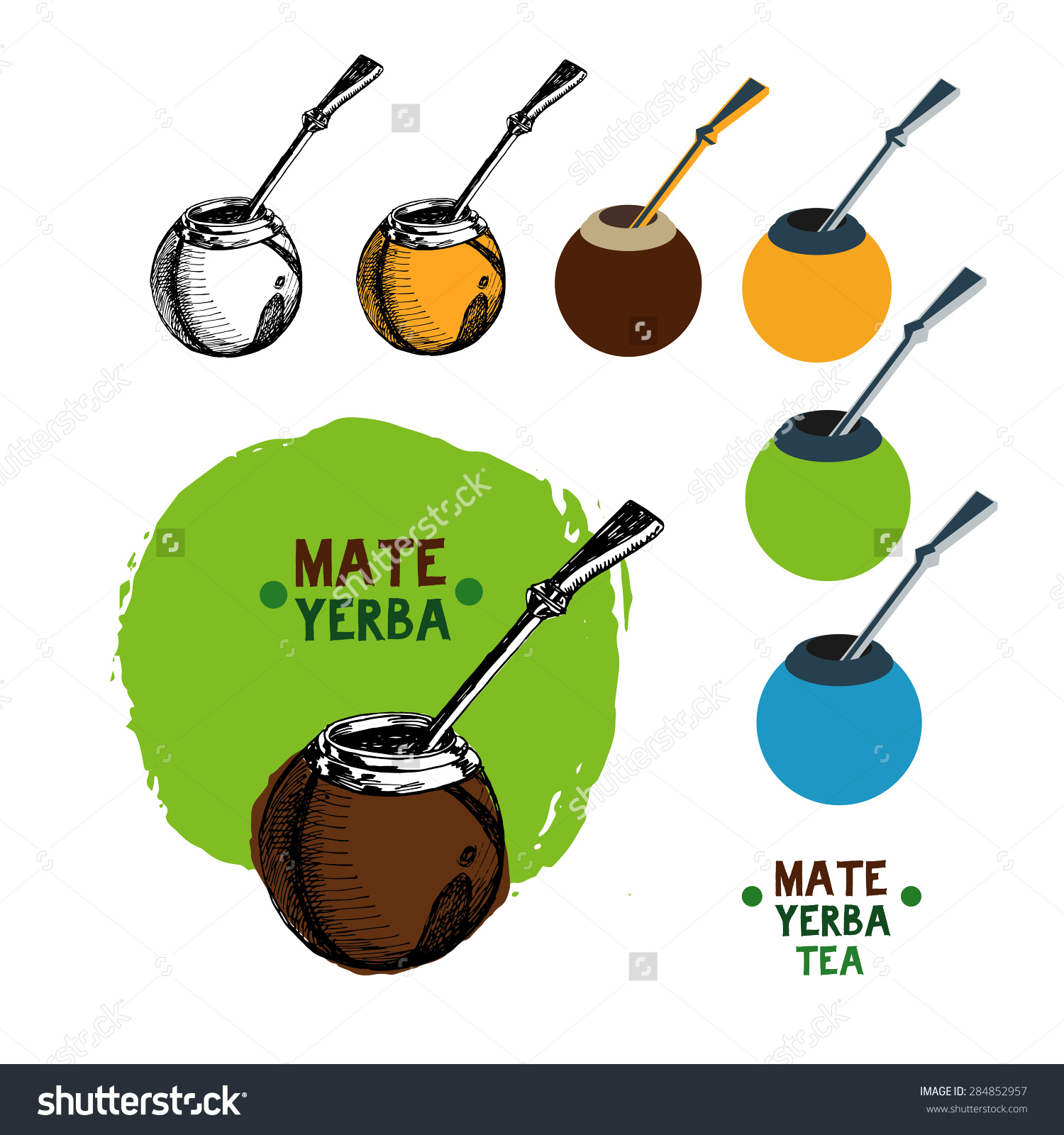 Mate Tea Illustration Set.