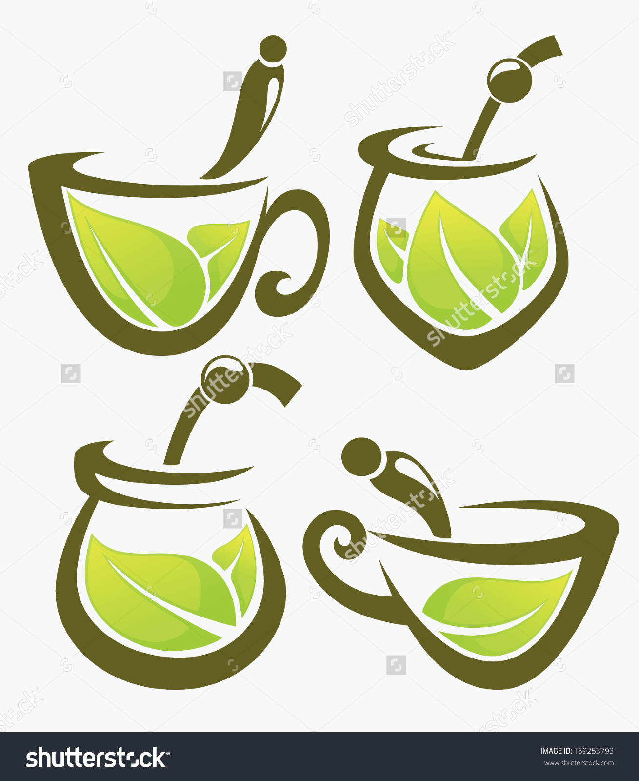 Green Tea Mate Vector Collection Forms Stock Vector 159253793.