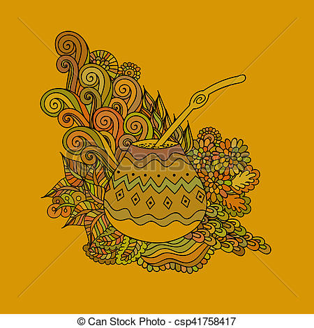Clipart of Yerba mate tea gourd.