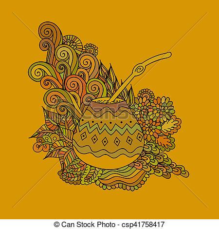Clipart of Yerba mate tea gourd.