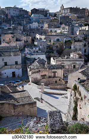 Stock Photography of Aerial detail of ancient town of Matera with.
