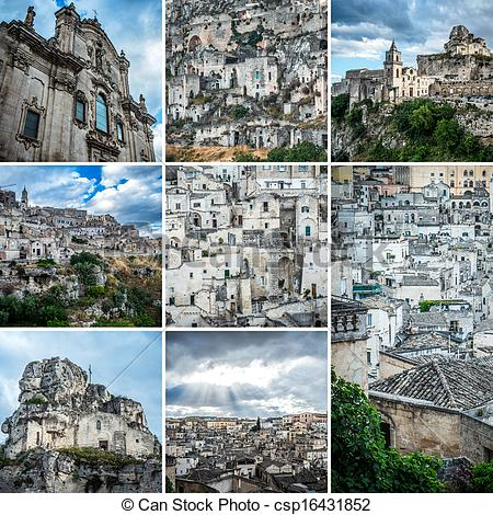 Stock Images of Matera collage.