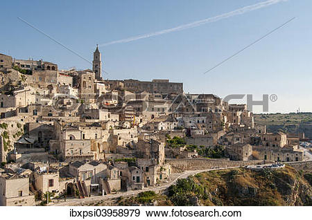 "Stock Photograph of ""Town with cave dwellings, Sasso Caveoso."