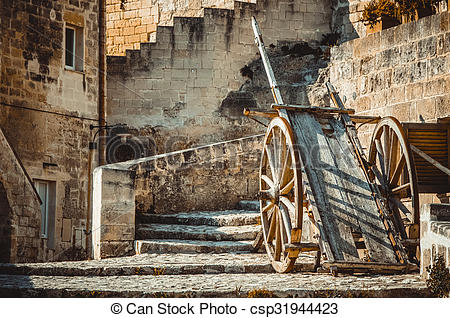 Stock Photo of old historical wood wagon typical tool used in.