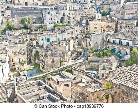 Picture of panoramic view of stones of Matera. Basilicata, Italy.