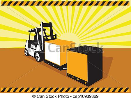 Clipart Vector of Forklift Truck Materials Handling Logistics.