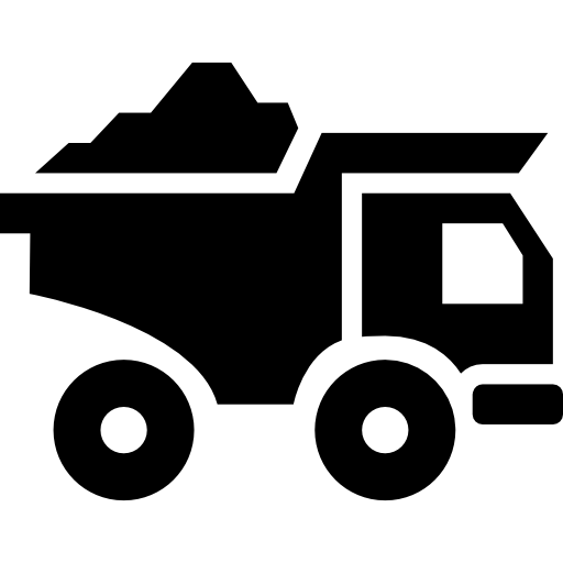 Truck transport with construction materials Icons.